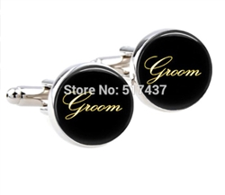 Simple Groom Cufflinks in Gold