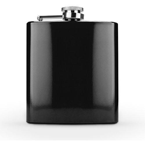 6 Oz Glossy Black Stainless Steel Flask On Sale At The Wedding Shoppe Canada
