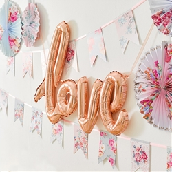 Mylar Foil Letter Balloon Decoration - Cursive Love - Rose Gold