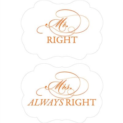 cheeky mr right mrs always right paper chair markers. Black Bedroom Furniture Sets. Home Design Ideas