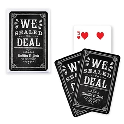 Custom Playing Card Favors - We Sealed The Deal Chalkboard Design (5 Colors)