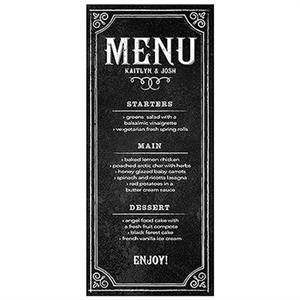 Menu Card With Chalkboard Print Design (Package of 6)