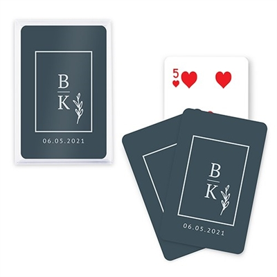 Custom Playing Card Favors - Stacked Monogram Design