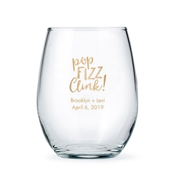 Personalized Stemless Wine Glass Wedding Favour – Large