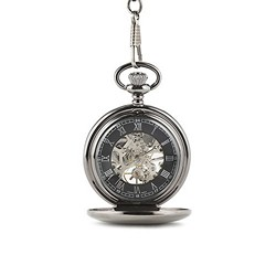 Gunmetal Mechanical Pocket Watch With Gift Box
