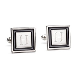 Black Border Cuff Links With Gift Box