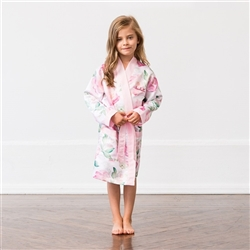 Personalized Flower Girl Satin Robe With Pockets - Pink Floral