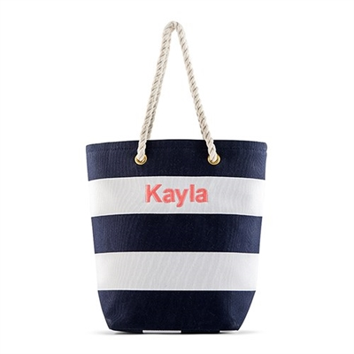 Bliss Striped Tote - Navy And White