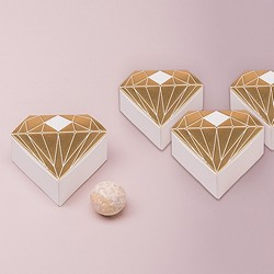 Diamond Favor Box With Metallic Gold (pk of 10)