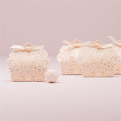 Luscious Foil Lace Favor Box With Ribbon (Package of 10)