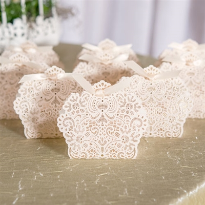 Luscious Foil Lace Favour Box With Ribbon (pkg of 10)