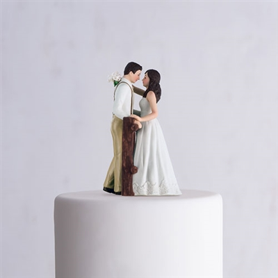 Rustic Couple Porcelain Figurine Wedding Cake Topper White Dress
