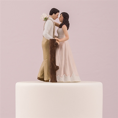Rustic Couple Porcelain Figurine Wedding Cake Topper Blush Dress