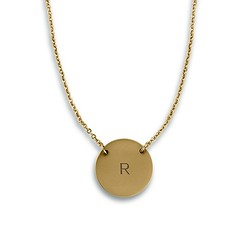 Circle Tag Necklace - Matte Gold