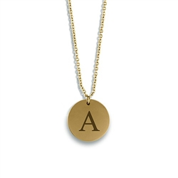 Circle Tag Necklace - Classic Serif Initial