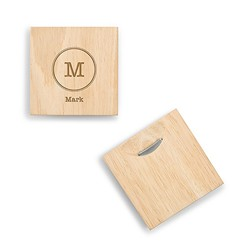 Wood Coaster With Bottle Opener - Typewriter Monogram Etching (set of 2)