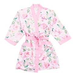Pink Watercolor Floral Silky Kimono Robe On Pink