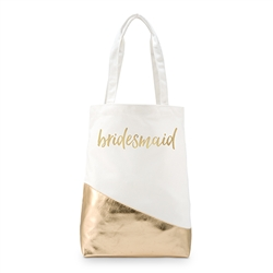 Bridesmaid -  Gold Canvas Shopper Tote With Bridal Style Foiling