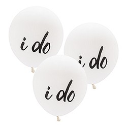 "17"" Large White Round Wedding Balloons - ""I Do"" (Set of 3)"