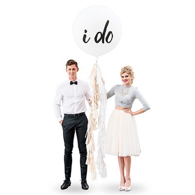 "36"" Jumbo White Round Wedding Balloon - ""I Do"""