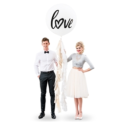 "36"" Jumbo White Round Wedding Balloon - ""Love"""