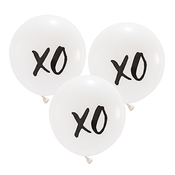 "17"" Large White Round Wedding Balloons - ""XO"" (Set of 3)"