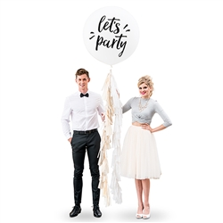"36"" Jumbo White Round Wedding Balloon - ""Let's Party"""