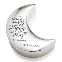 Personalized Silver Half Moon Jewellery Box - My Sun Moon And Stars Etching