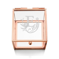 Small Glass Jewellery Box With Rose Gold - Modern Fairy Tale Etching