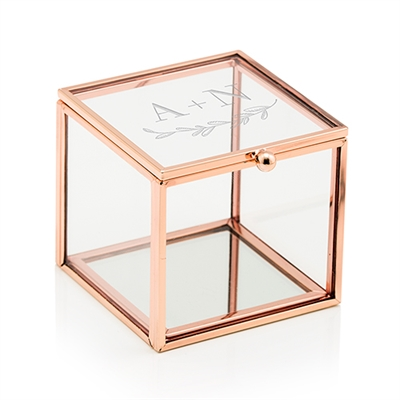 Small Glass Jewellery Box With Rose Gold - Garland Under Etching