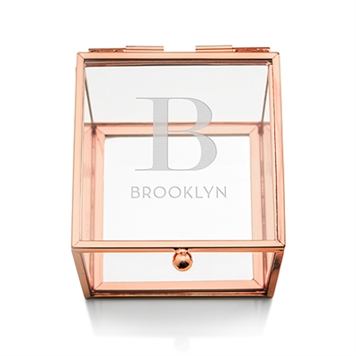 Small Glass Jewellery Box With Rose Gold - Modern Serif Initial Etching