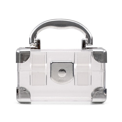 Mini Travel Suitcase Favour Box - Silver