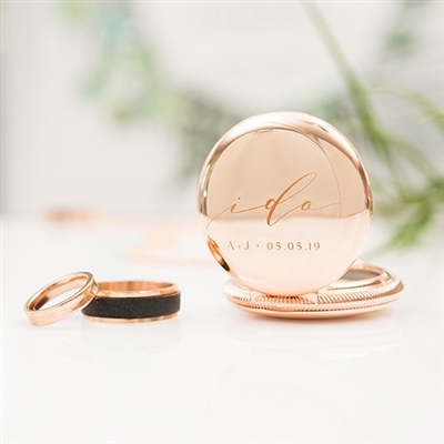 Personalized Pocket Wedding Ring Holder With Chain - I Do Etching