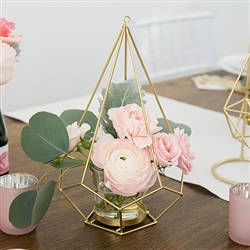 Tall Gold Geometric Candle Or Flower Centrepiece