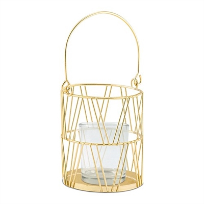 Gold Geometric Candle Lantern (pkg of 2)