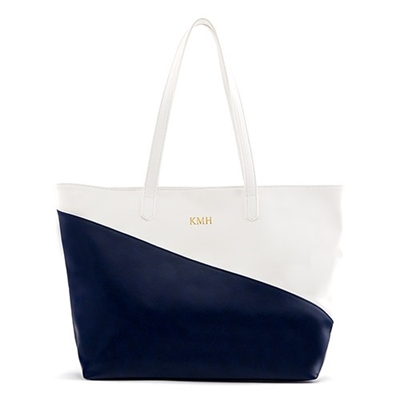 Faux Leather Colour Block Tote Bag - Navy & White