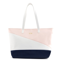 Faux Leather Colour Block Tote Bag - Pink, Navy & White