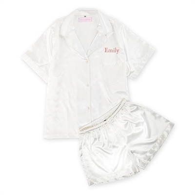 White Silky Pajama Shortie Set