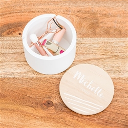Round Wooden Keepsake Box With Lid - Script Font Print