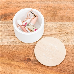 Round Wooden Keepsake Box With Lid - Signature Script Bride Print