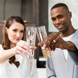 Engagement Set Champagne Flutes - Metallic Gold