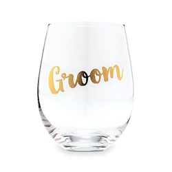 Groom Stemless Wine Glass - Metallic Gold