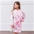 Personalized Junior Bridesmaid Satin Robe With Pockets - Pink Floral - Pink Floral