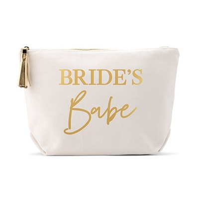 Personalized Canvas Cosmetic And Toiletry Bag For Women - Brides Babe Design( 2 sizes)