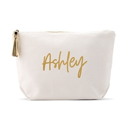 Personalized Canvas Cosmetic And Toiletry Bag For Women - Script Font Design( 2 sizes)
