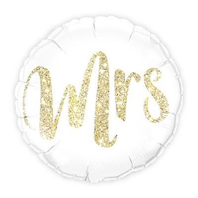 Mylar Foil Helium Party Balloon Wedding Decoration - White With Gold Mrs. Glitter - Celebrate