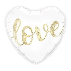 Mylar Foil Helium Party Balloon Wedding Decoration - White And Gold Love Glitter Heart - Celebrate