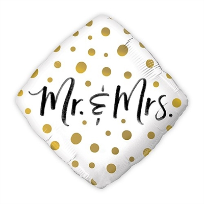 Mylar Foil Helium Party Balloon Wedding Decoration - Gold Polka-Dot Mr. And Mrs.