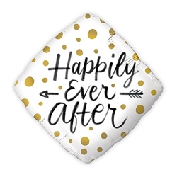 Mylar Foil Helium Party Balloon Wedding Decoration - Gold Polka-Dot Happily Ever After - Celebrate