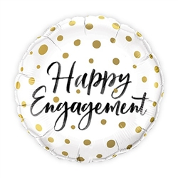 Mylar Foil Helium Party Balloon Wedding Decoration - Gold Polka-Dot Engagement - Celebrate